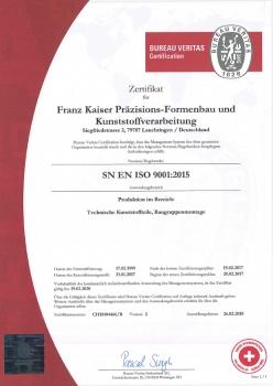 Kunststoff-Zertifikat