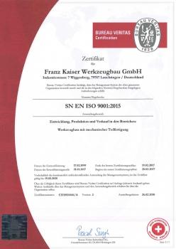 Werkzeugbau-Zertifikat